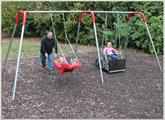 2 Bay ADA Swing Set with wheelchair platform and JennSwing seat
